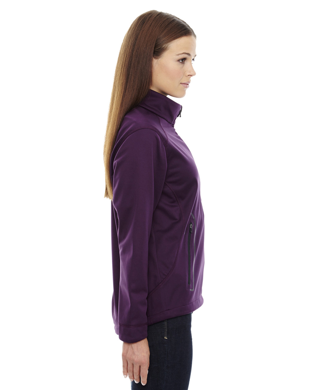 Mulberry Purple-side 78655 North End Sport Red Splice Three-Layer Light Bonded Soft Shell Jacket