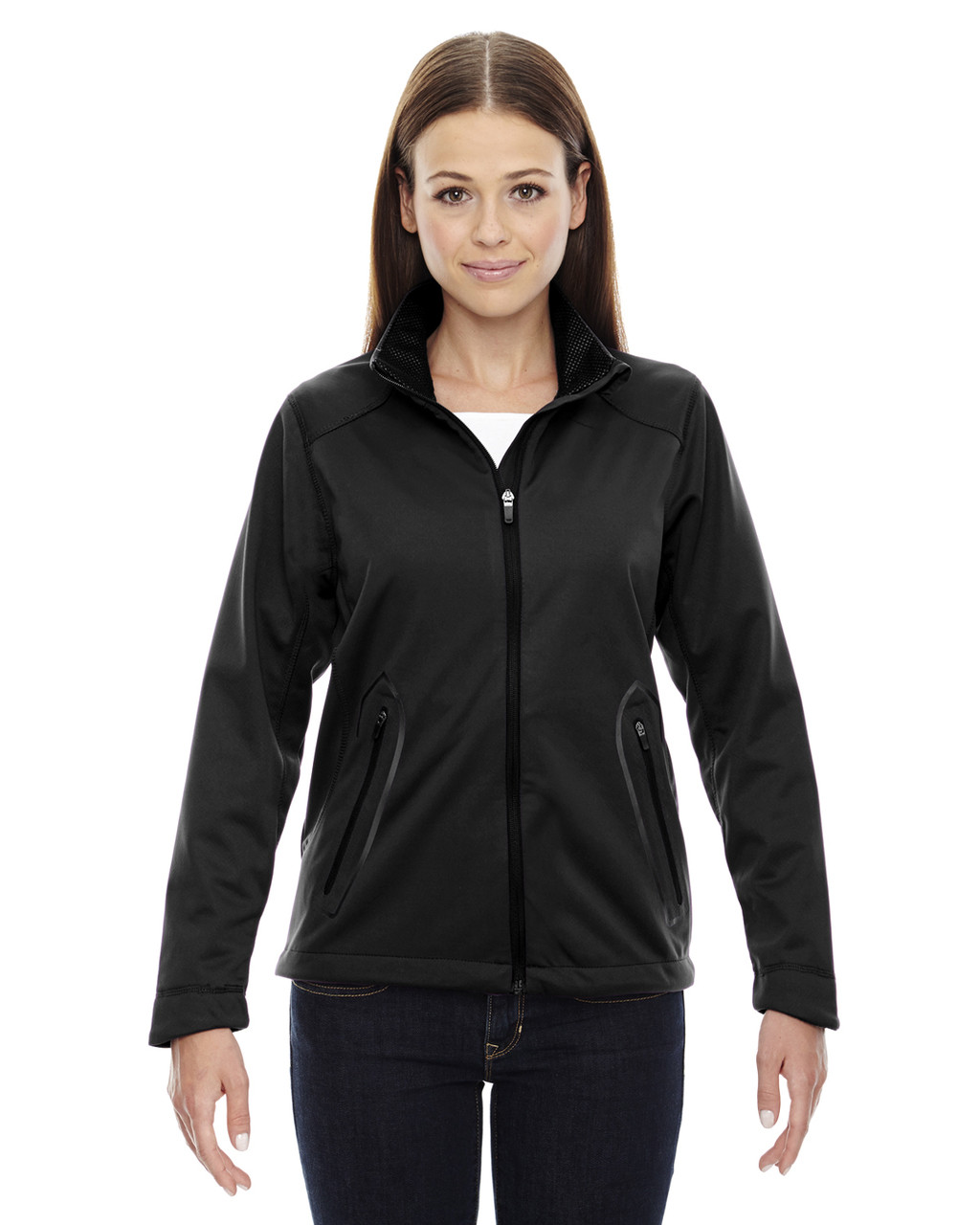 Black - 78655 North End Sport Red Splice Three-Layer Light Bonded Soft Shell Jacket