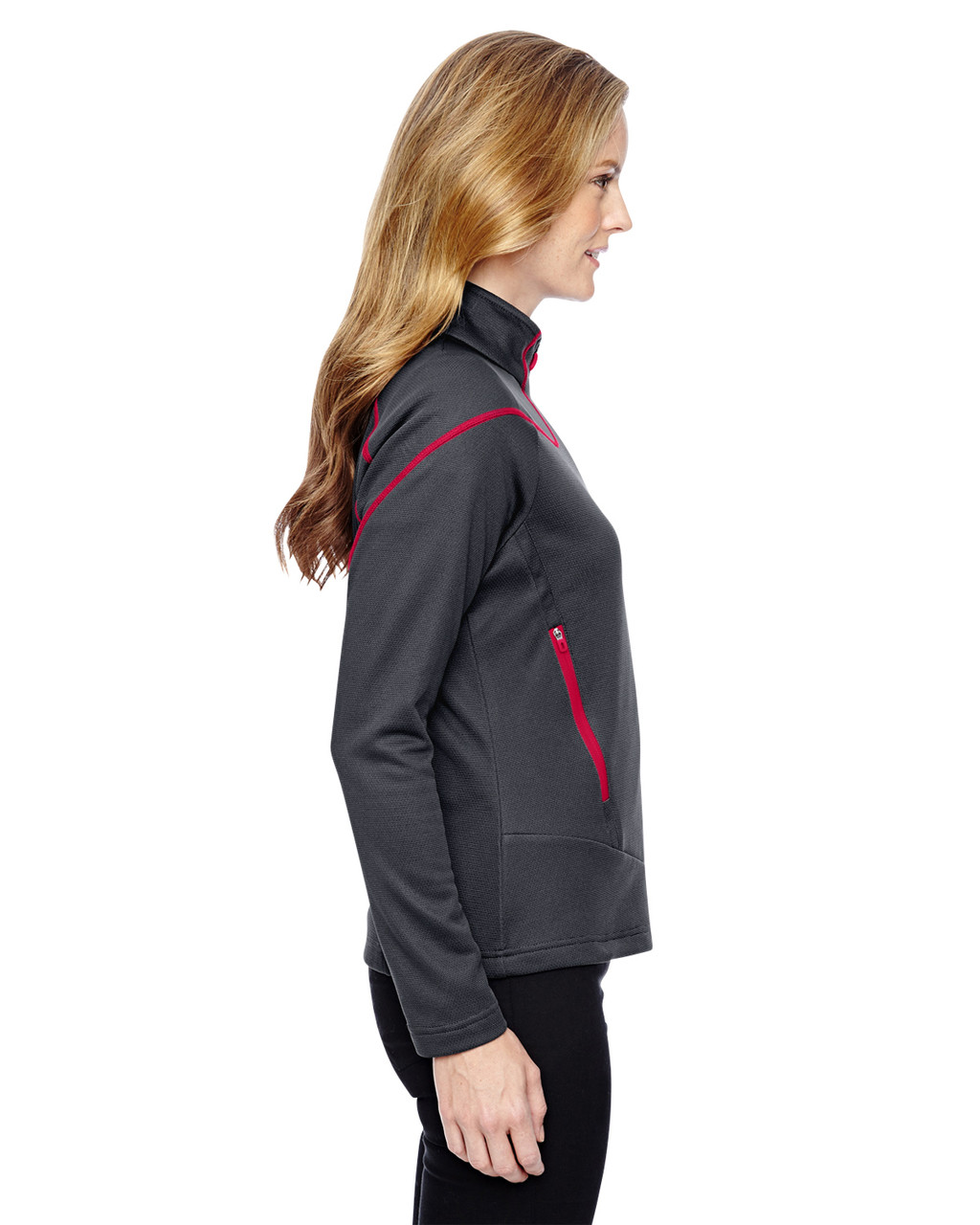 Carbon/Olympic Red-side 78806 North End Sport Red Interactive Cadence Two-Tone Brush Back Jacket