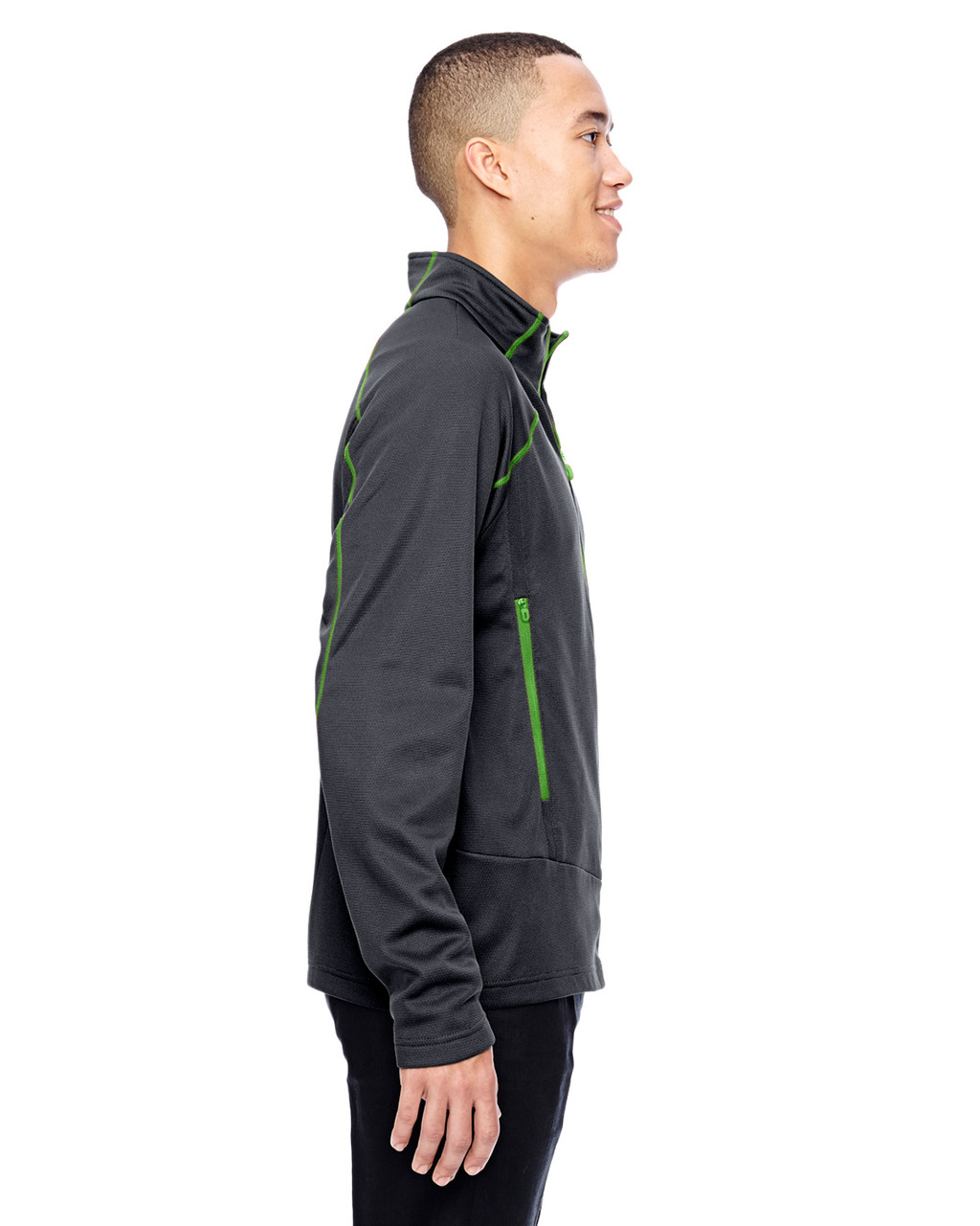 Carbon/Acid Green-side 88806 North End Sport Red Interactive Cadence Two-Tone Brush Back Jacket