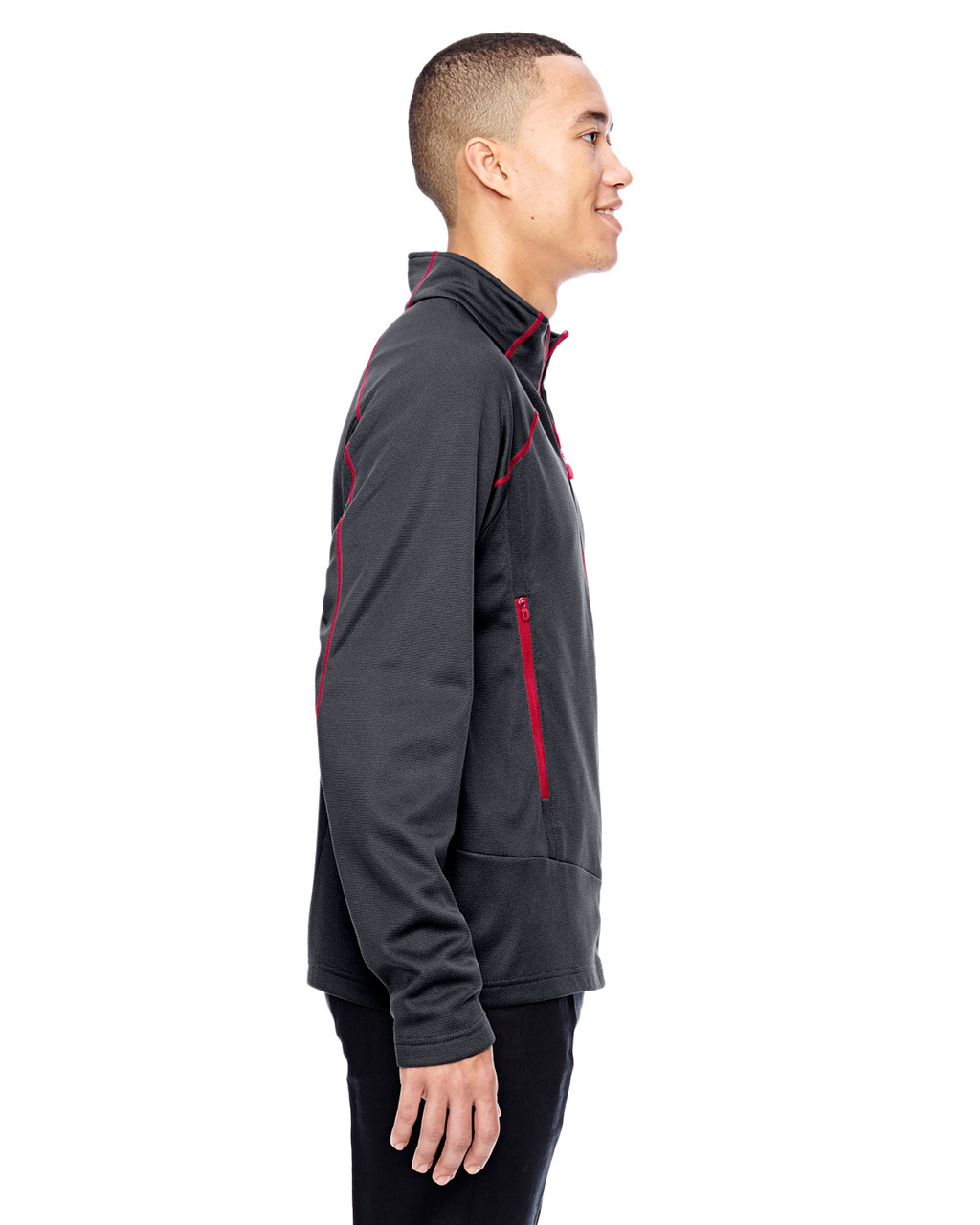 Carbon/Olympic Red-side 88806 North End Sport Red Interactive Cadence Two-Tone Brush Back Jacket