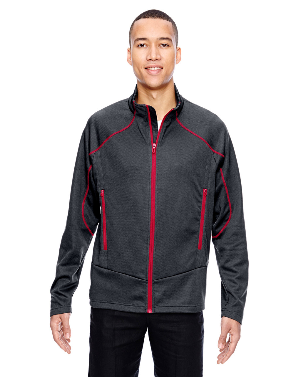 Carbon/Olympic Red - 88806 North End Sport Red Interactive Cadence Two-Tone Brush Back Jacket