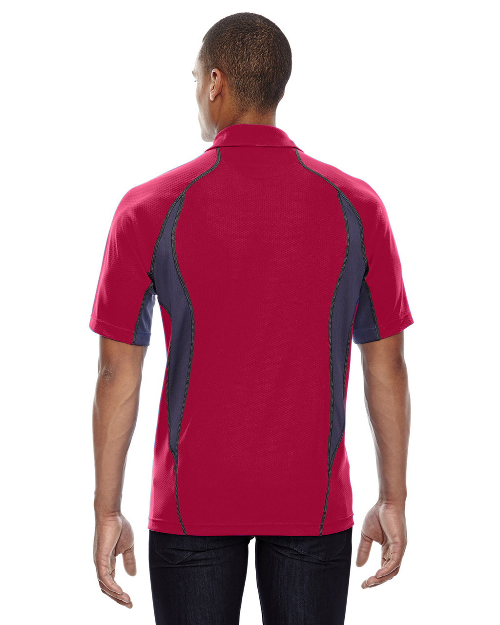 Olympic Red - Back, 88657 North End Sport Red Serac UTK Performance Zippered Polo Shirt
