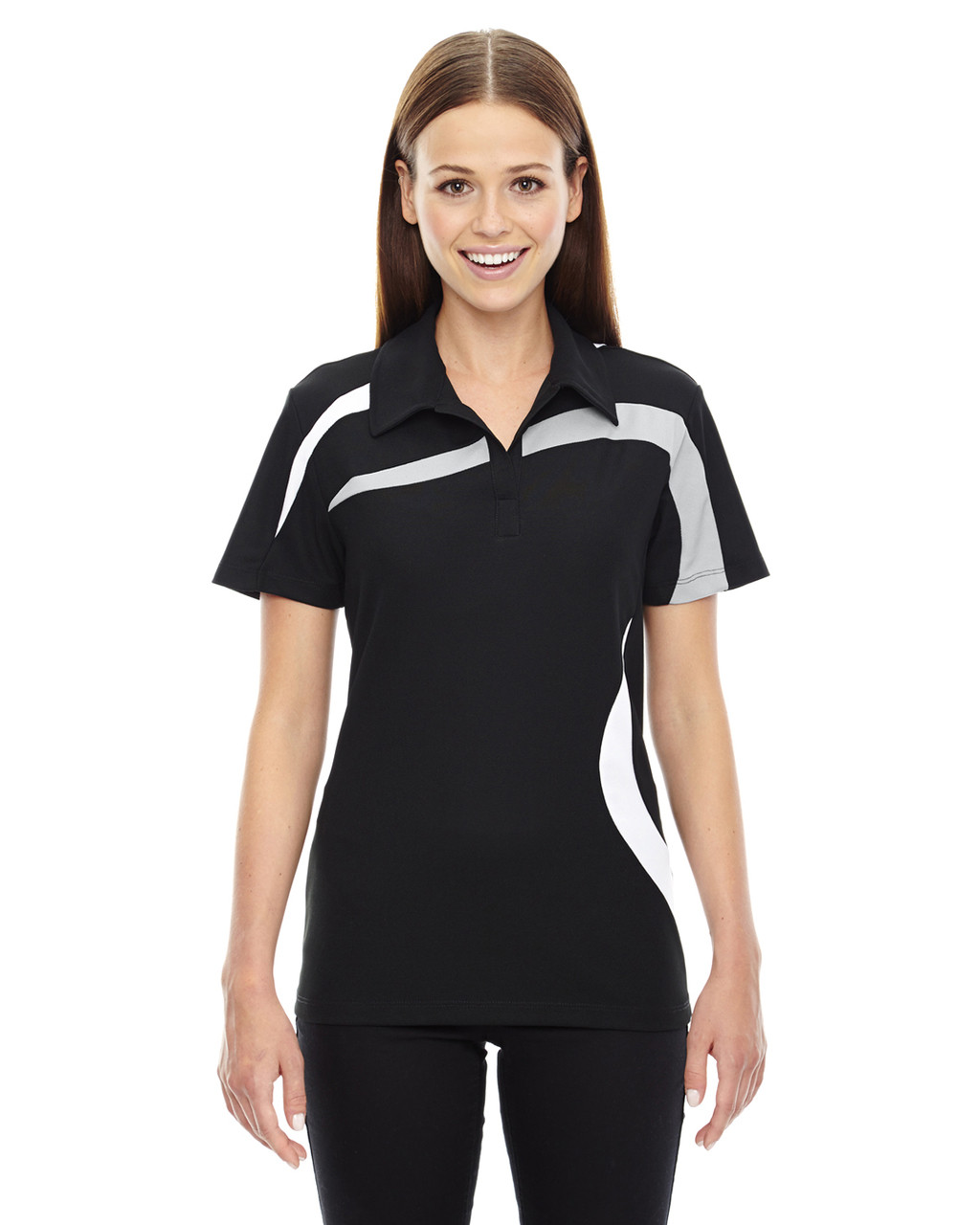 Black - 78645 North End Sport Red Impact Performance Polyester Colourblock Polo Shirt