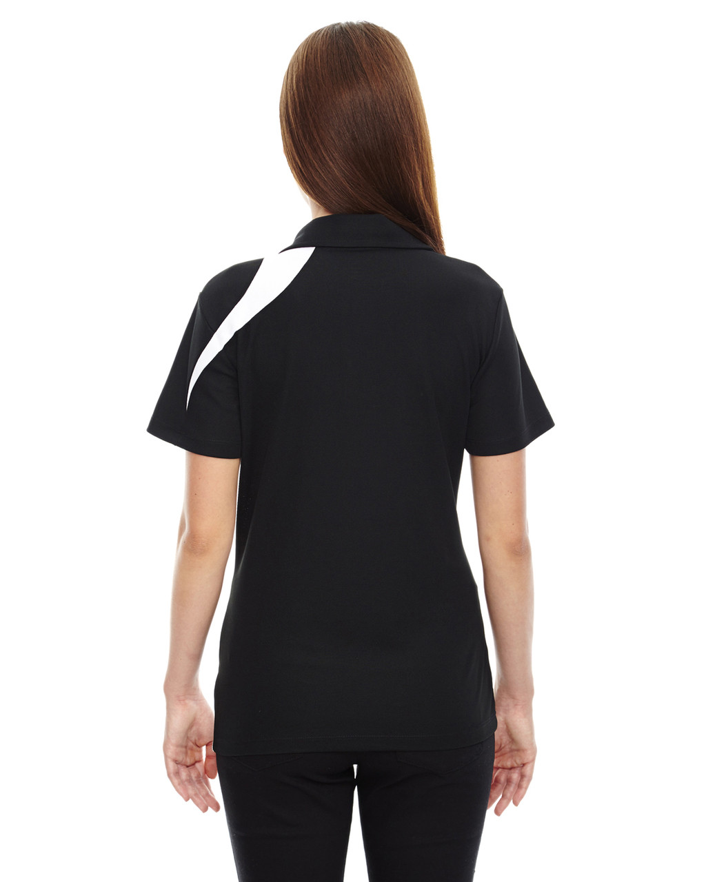 Black - Back, 78645 North End Sport Red Impact Performance Polyester Colourblock Polo Shirt