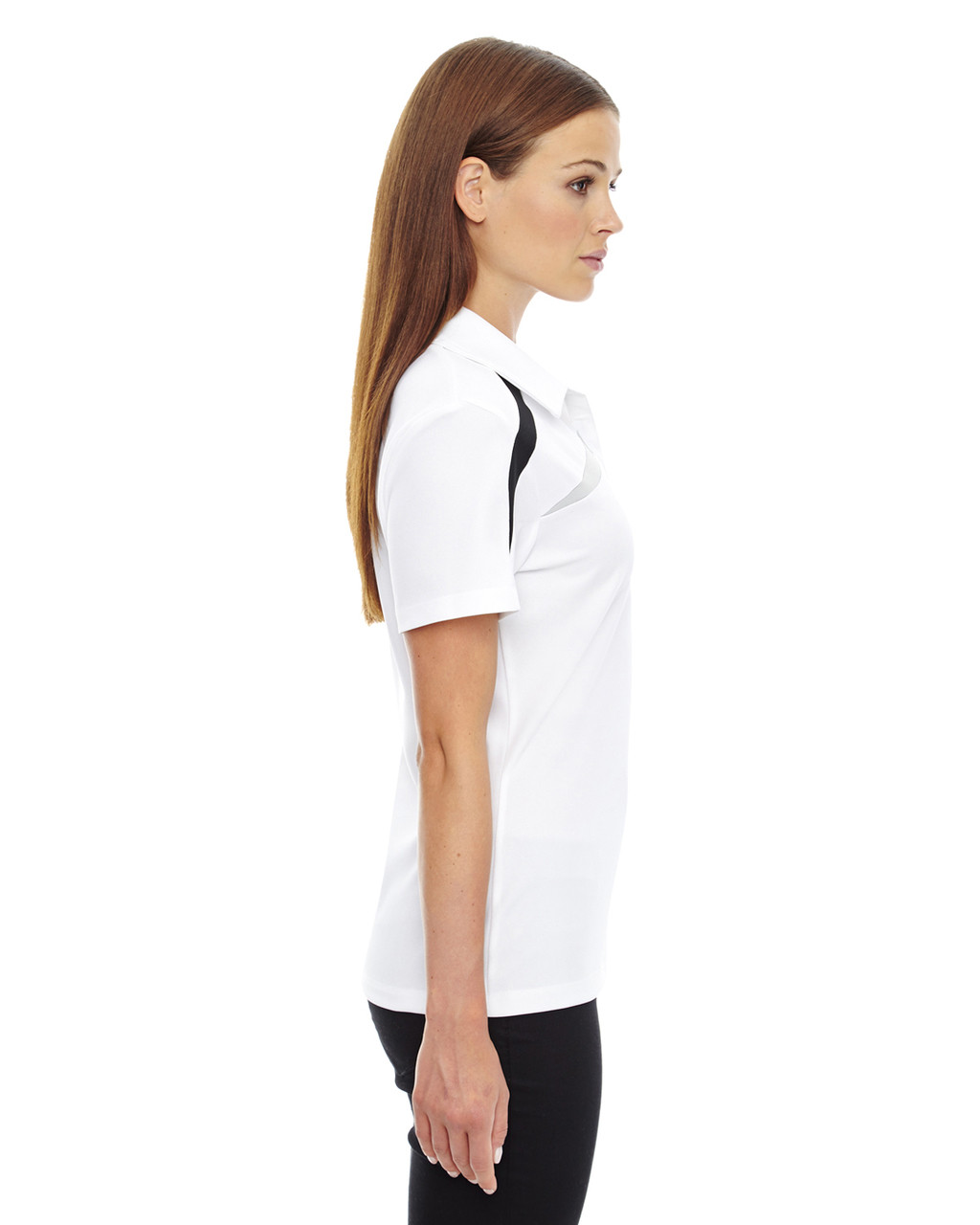 White - Side, 78645 North End Sport Red Impact Performance Polyester Colourblock Polo Shirt