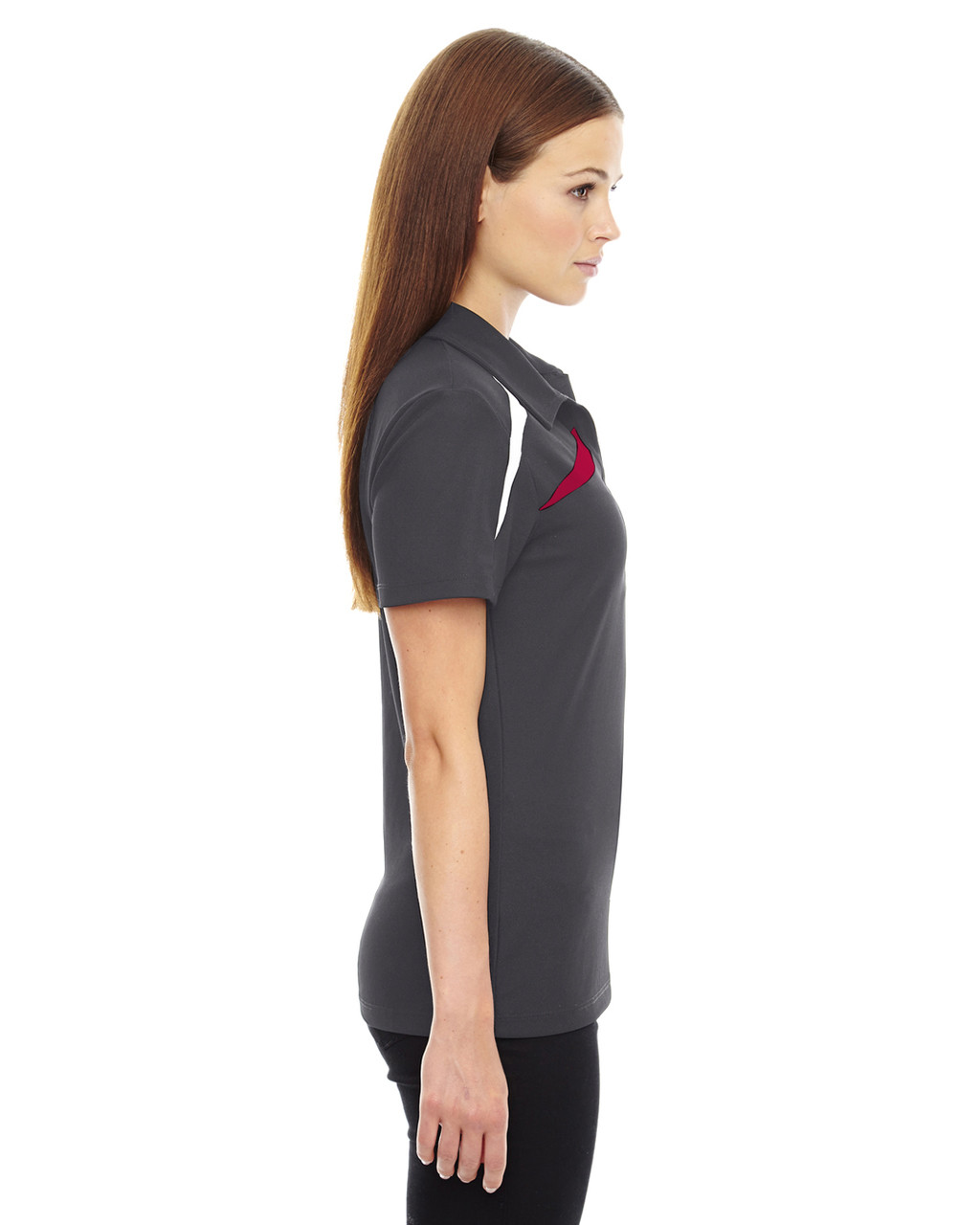 Black/Silk - Side, 78645 North End Sport Red Impact Performance Polyester Colourblock Polo Shirt