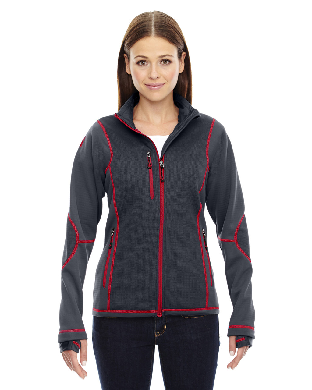 Carbon/Olympic Red - 78681 North End Sport Red Pulse Textured Bonded Fleece Jacket with Print