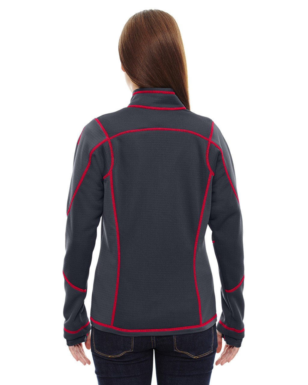 Carbon/Olympic Red-back 78681 North End Sport Red Pulse Textured Bonded Fleece Jacket with Print
