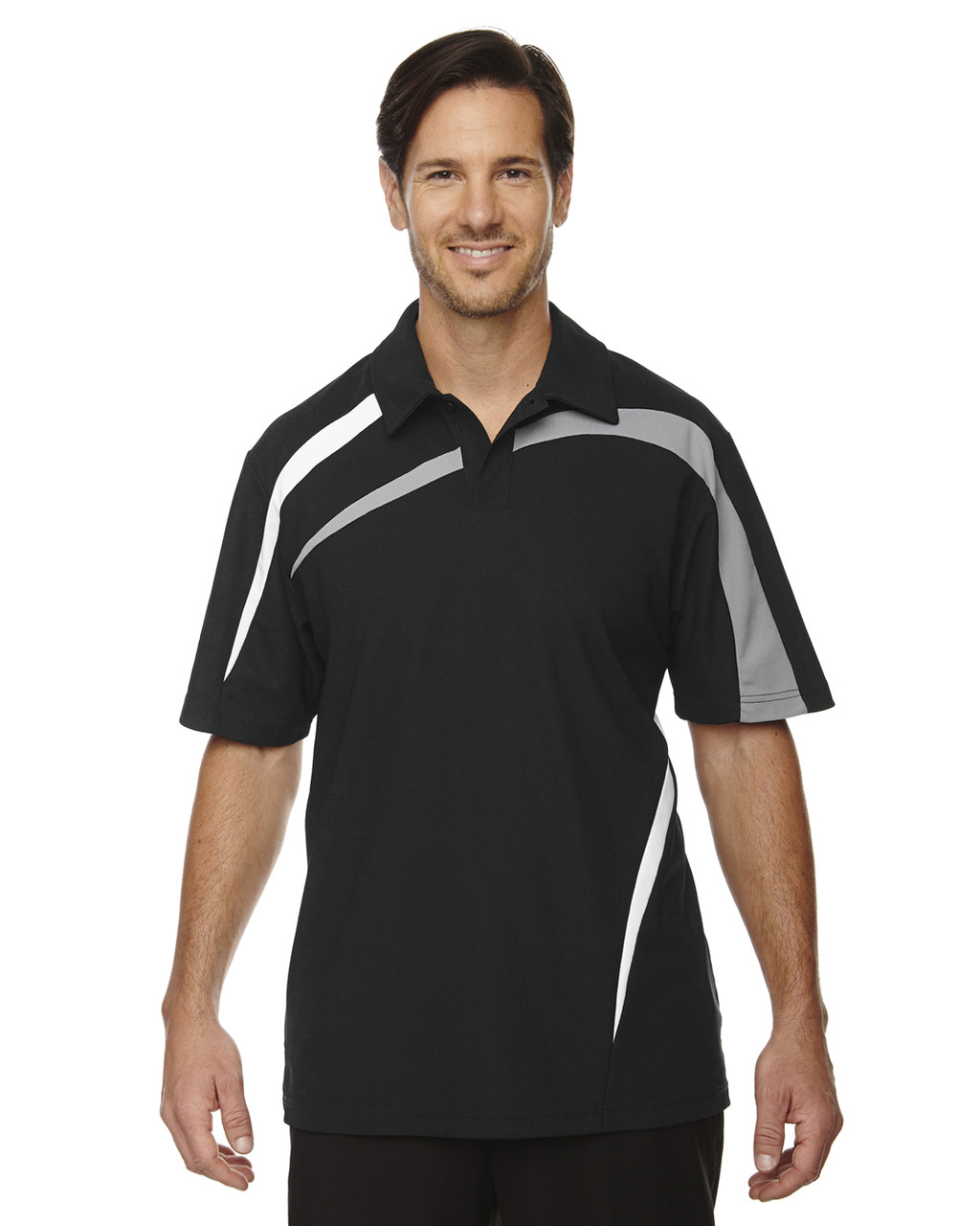 Black - 88645 North End Sport Red Impact Performance Polyester Colourblock Polo Shirt