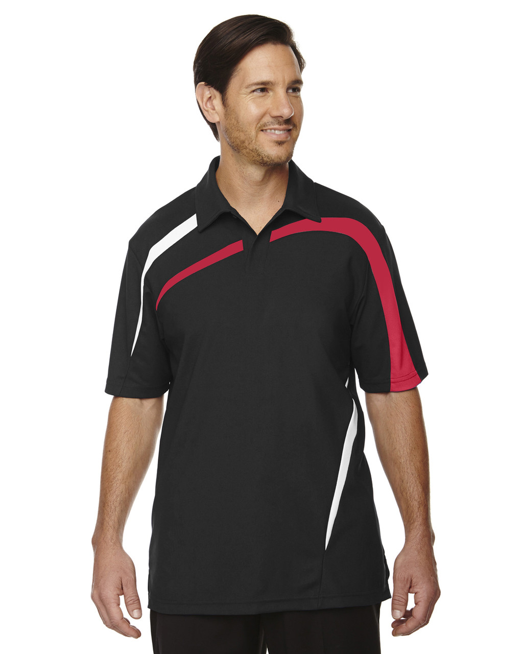 Black/Silk - 88645 North End Sport Red Impact Performance Polyester Colourblock Polo Shirt
