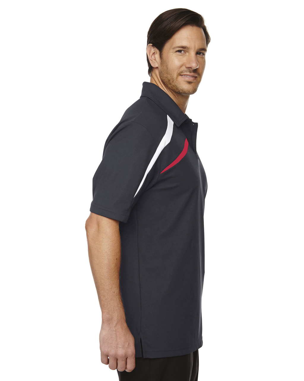 Black/Silk-side 88645 North End Sport Red Impact Performance Polyester Colourblock Polo Shirt