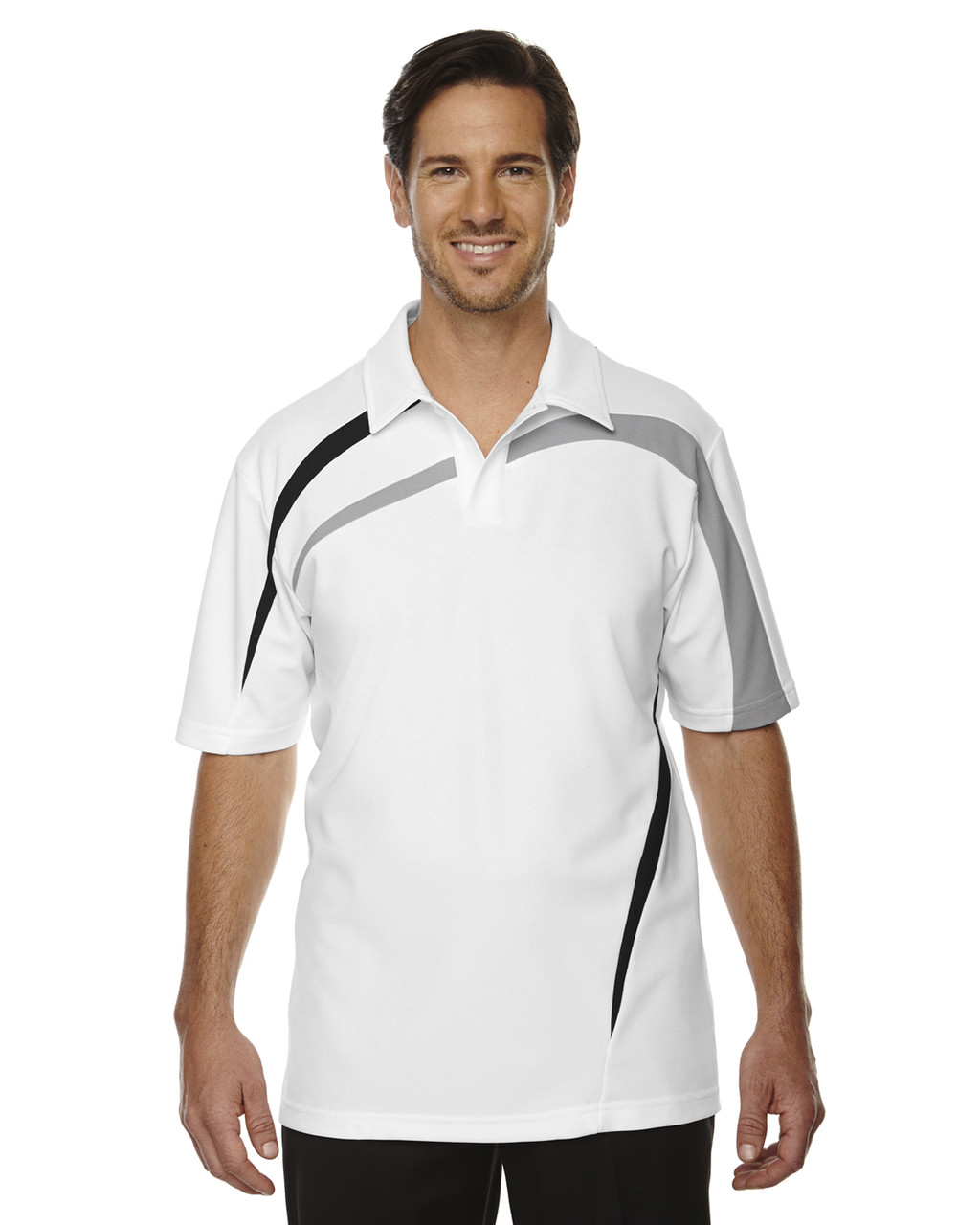 White - 88645 North End Sport Red Impact Performance Polyester Colourblock Polo Shirt