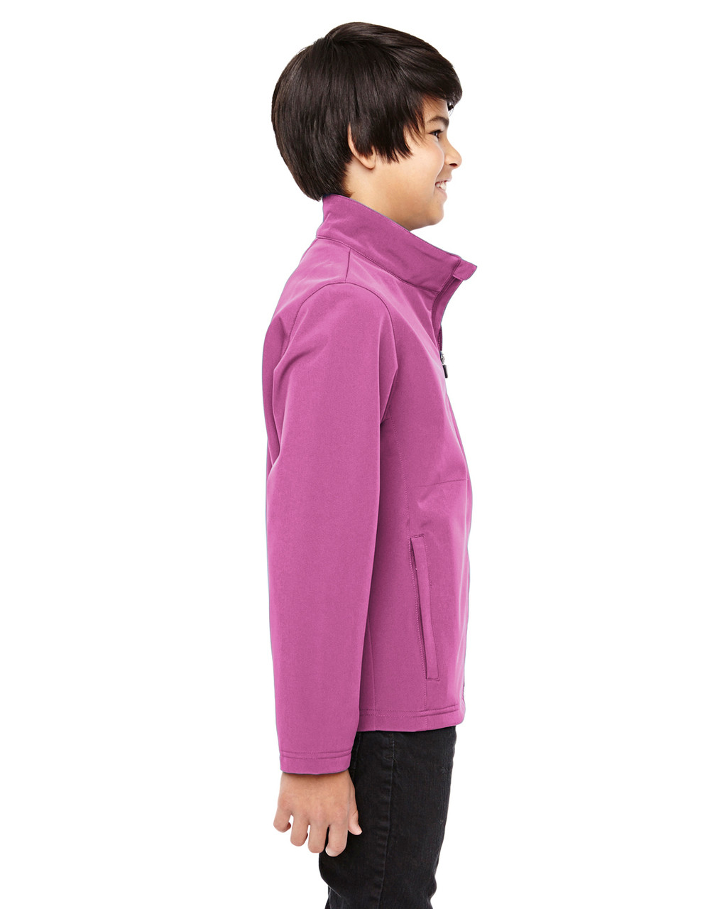 Sport Charity Pink - Side, TT80Y Team 365 Youth Leader Soft Shell Jacket | BlankClothing.ca