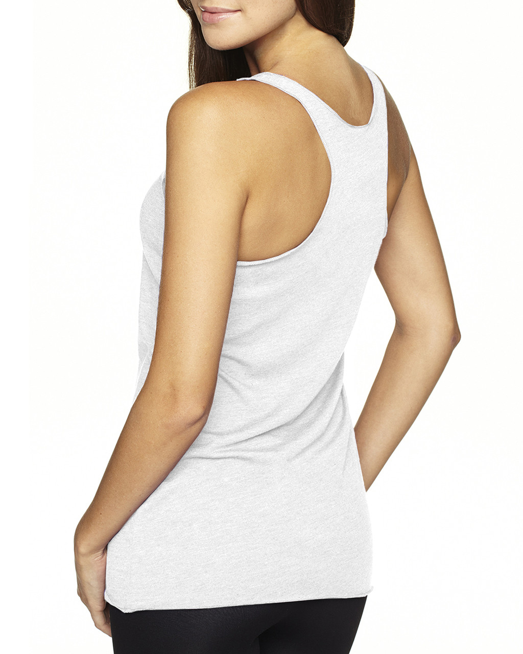 Heather White-back 6733 Next Level Tri-Blend Racerback Tank Top | Blankclothing.ca