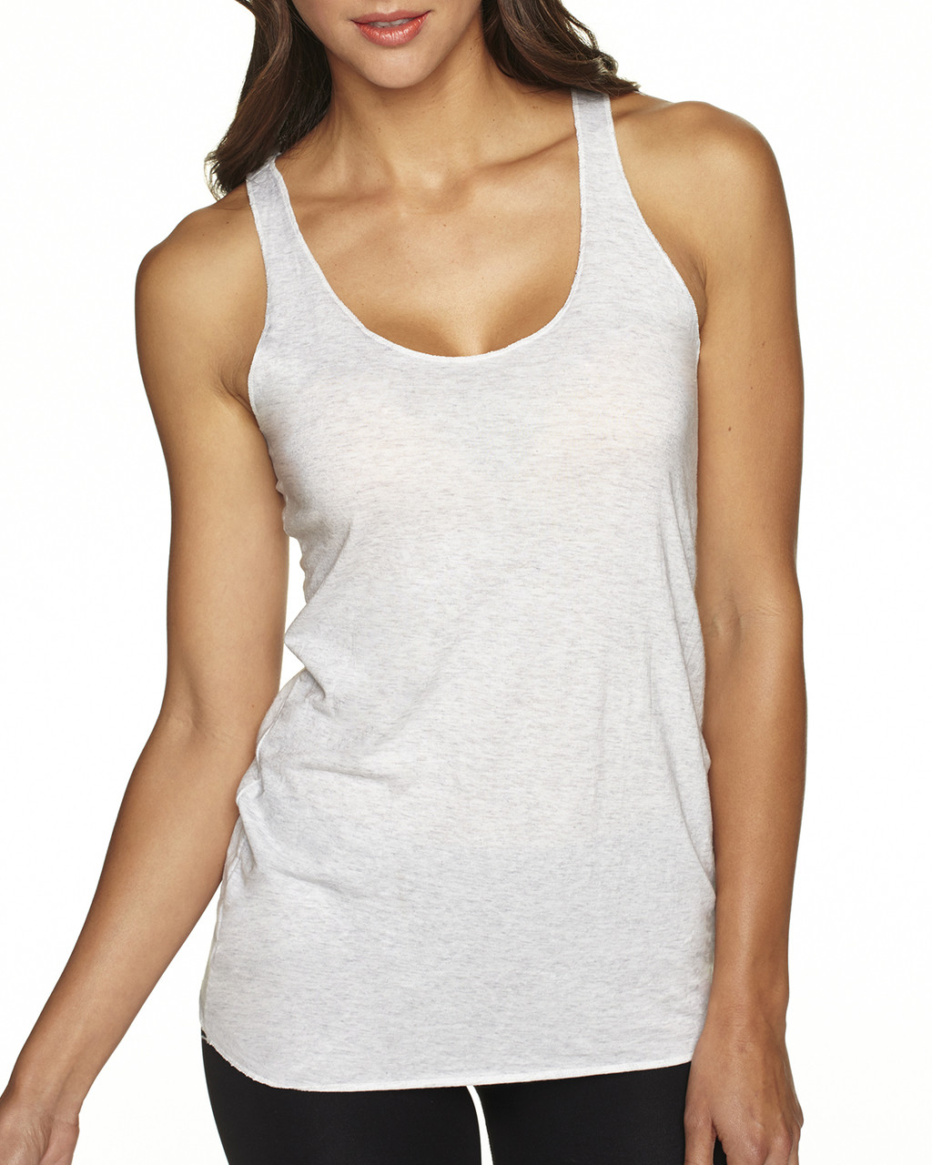 Heather White - 6733 Next Level Tri-Blend Racerback Tank Top | Blankclothing.ca