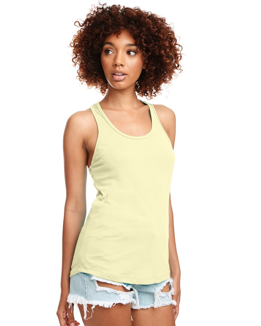Banana Cream - N1533 Next Level Ideal Racerback Tank Top | Blankclothing.ca
