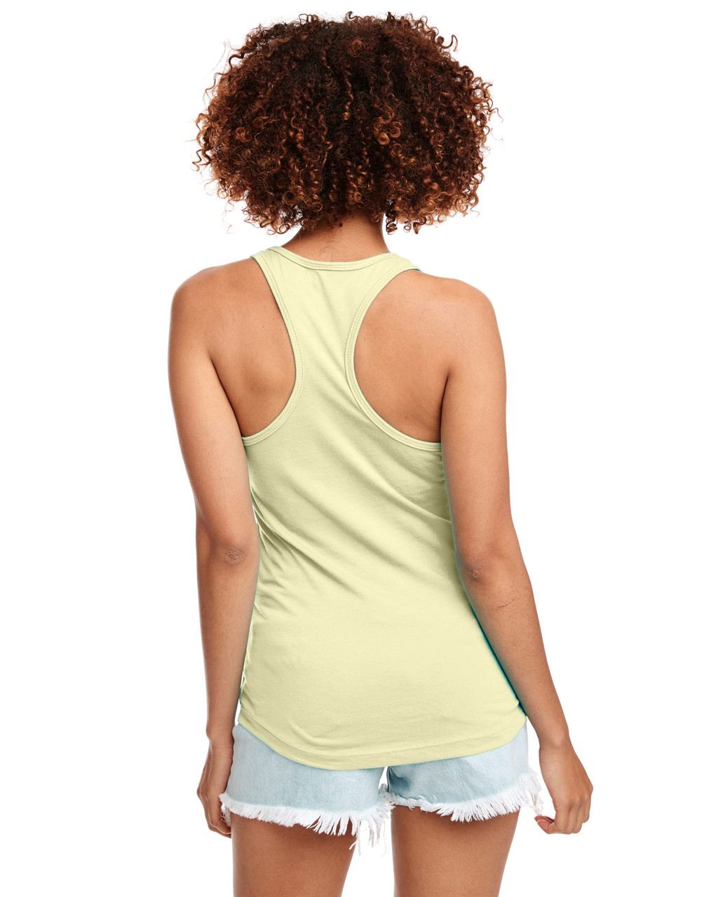 Banana Cream - Back, N1533 Next Level Ideal Racerback Tank Top | Blankclothing.ca