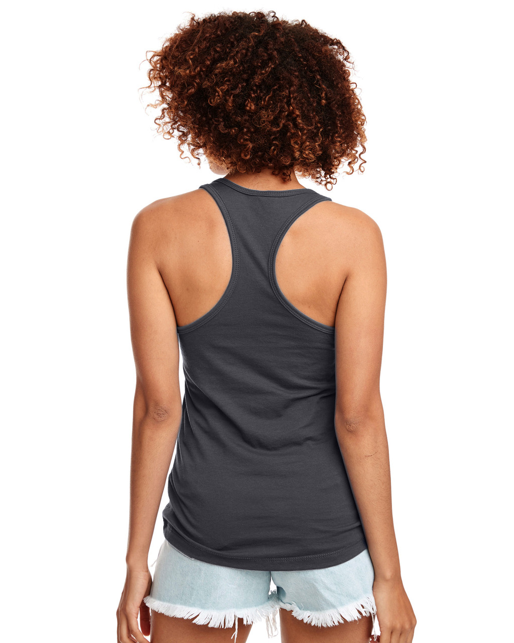 Dark Grey - Back, N1533 Next Level Ideal Racerback Tank Top | Blankclothing.ca