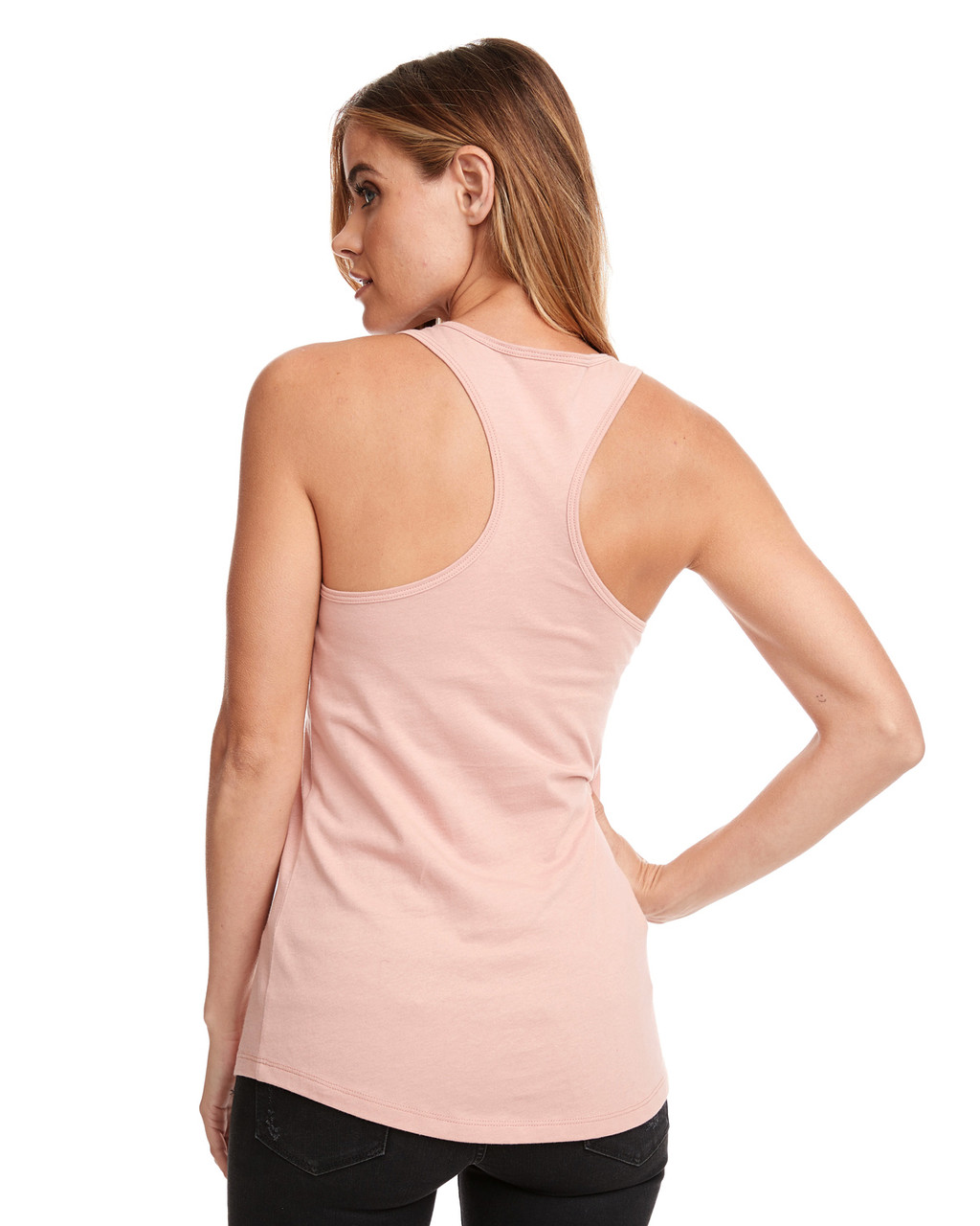 Desert Pink - Back, N1533 Next Level Ideal Racerback Tank Top | Blankclothing.ca