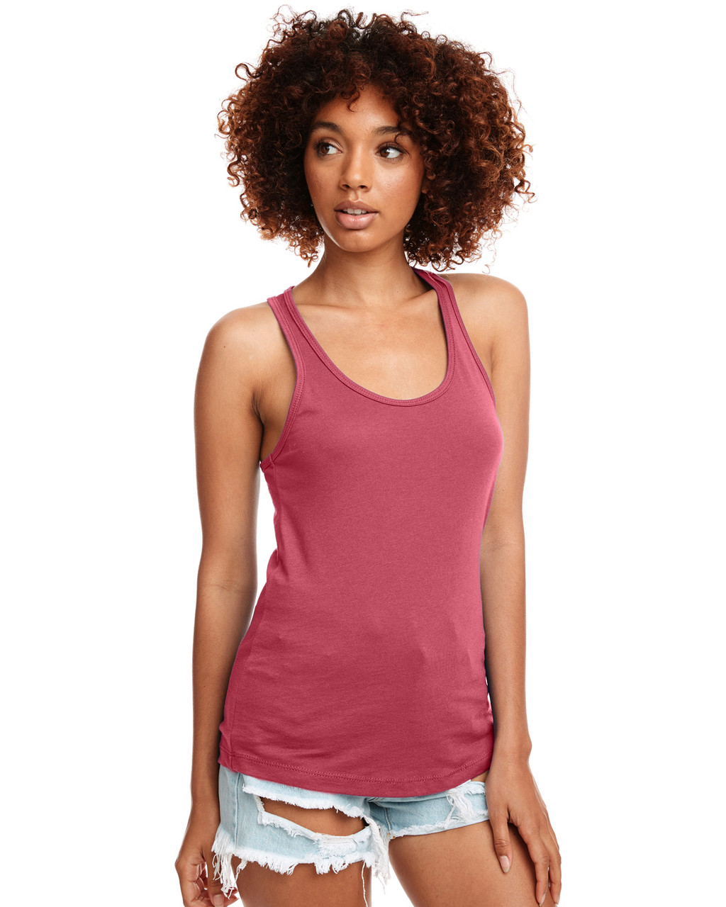 Hot Pink - N1533 Next Level Ideal Racerback Tank Top | Blankclothing.ca