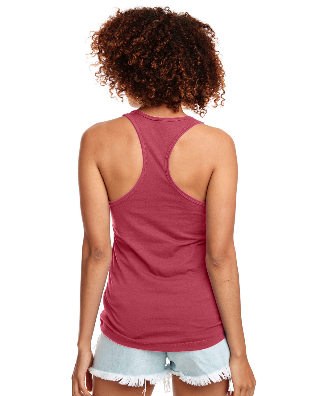 Hot Pink - Back, N1533 Next Level Ideal Racerback Tank Top | Blankclothing.ca