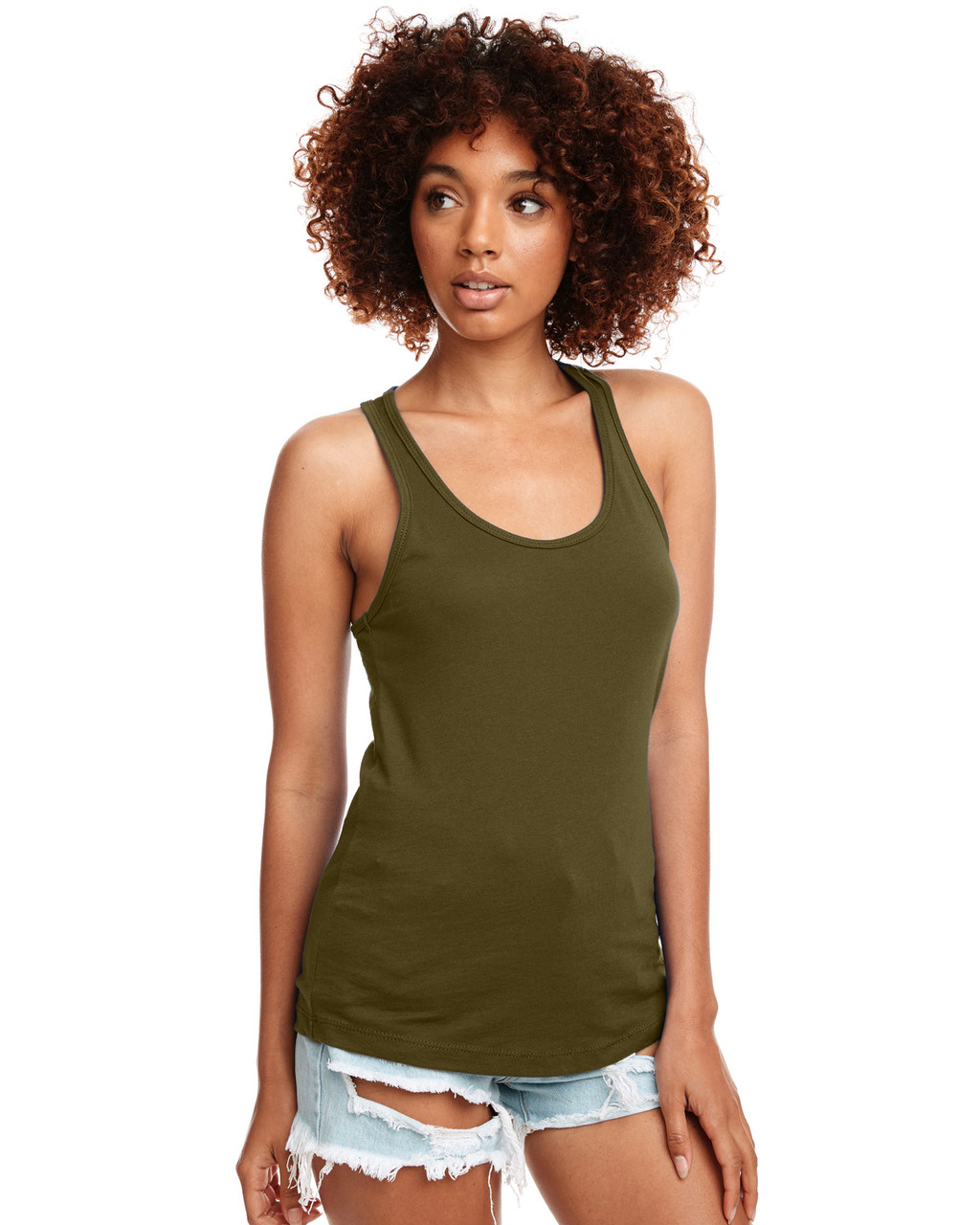 Military Green - N1533 Next Level Ideal Racerback Tank Top | Blankclothing.ca