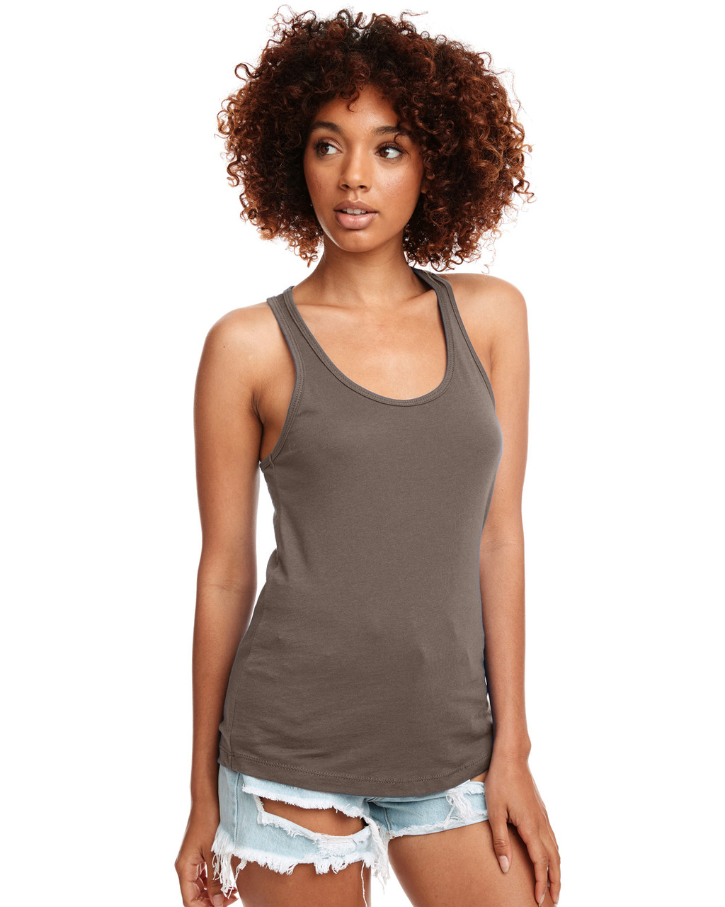 Warm Grey - N1533 Next Level Ideal Racerback Tank Top | Blankclothing.ca