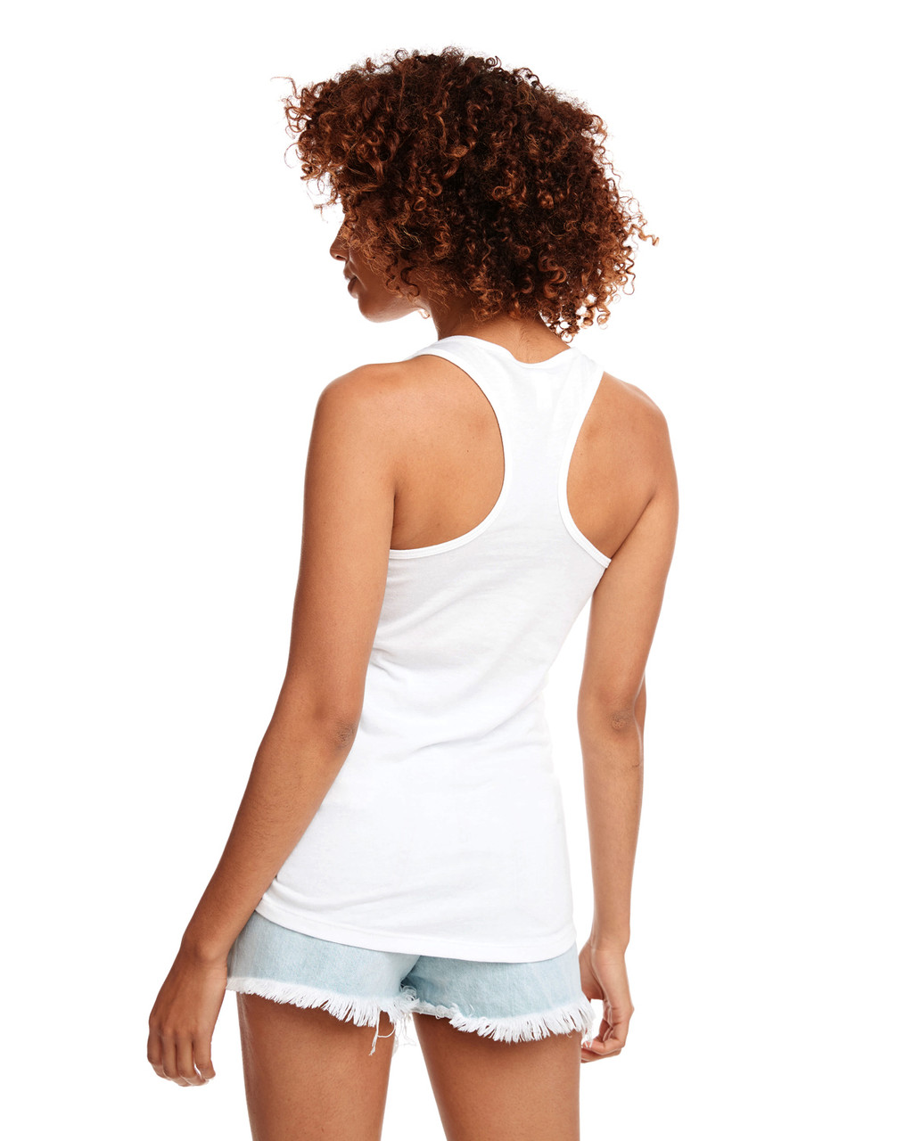 White - Back, N1533 Next Level Ideal Racerback Tank Top | Blankclothing.ca