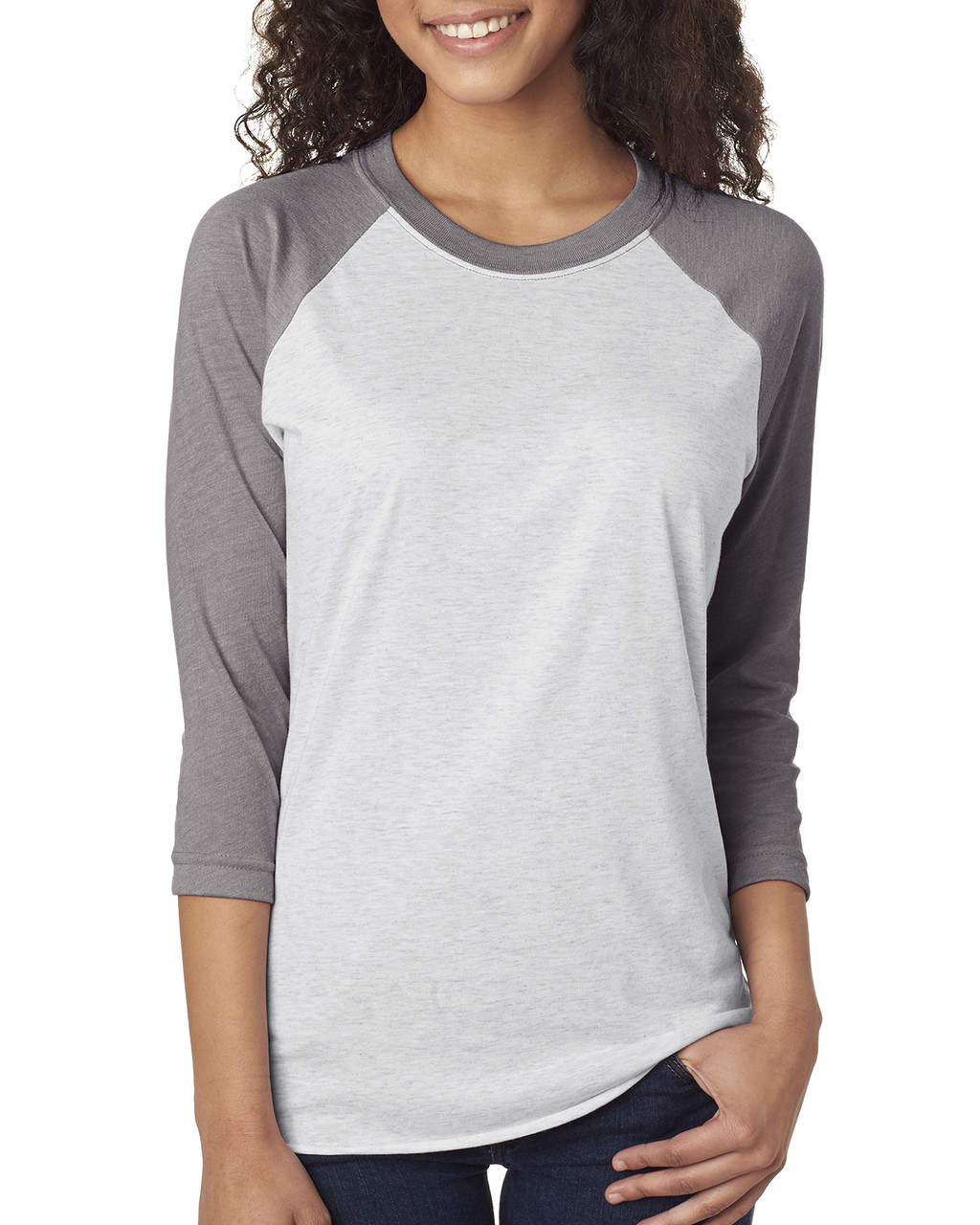 Heather/Heather White - 6051 Next Level Unisex Tri-Blend 3/4-Sleeve Raglan Tee | Blankclothing.ca