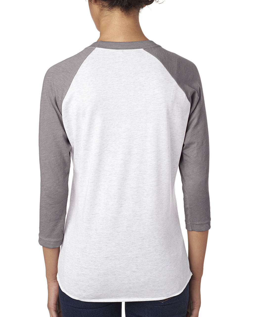 Heather/Heather White - back 6051 Next Level Unisex Tri-Blend 3/4-Sleeve Raglan Tee | Blankclothing.ca