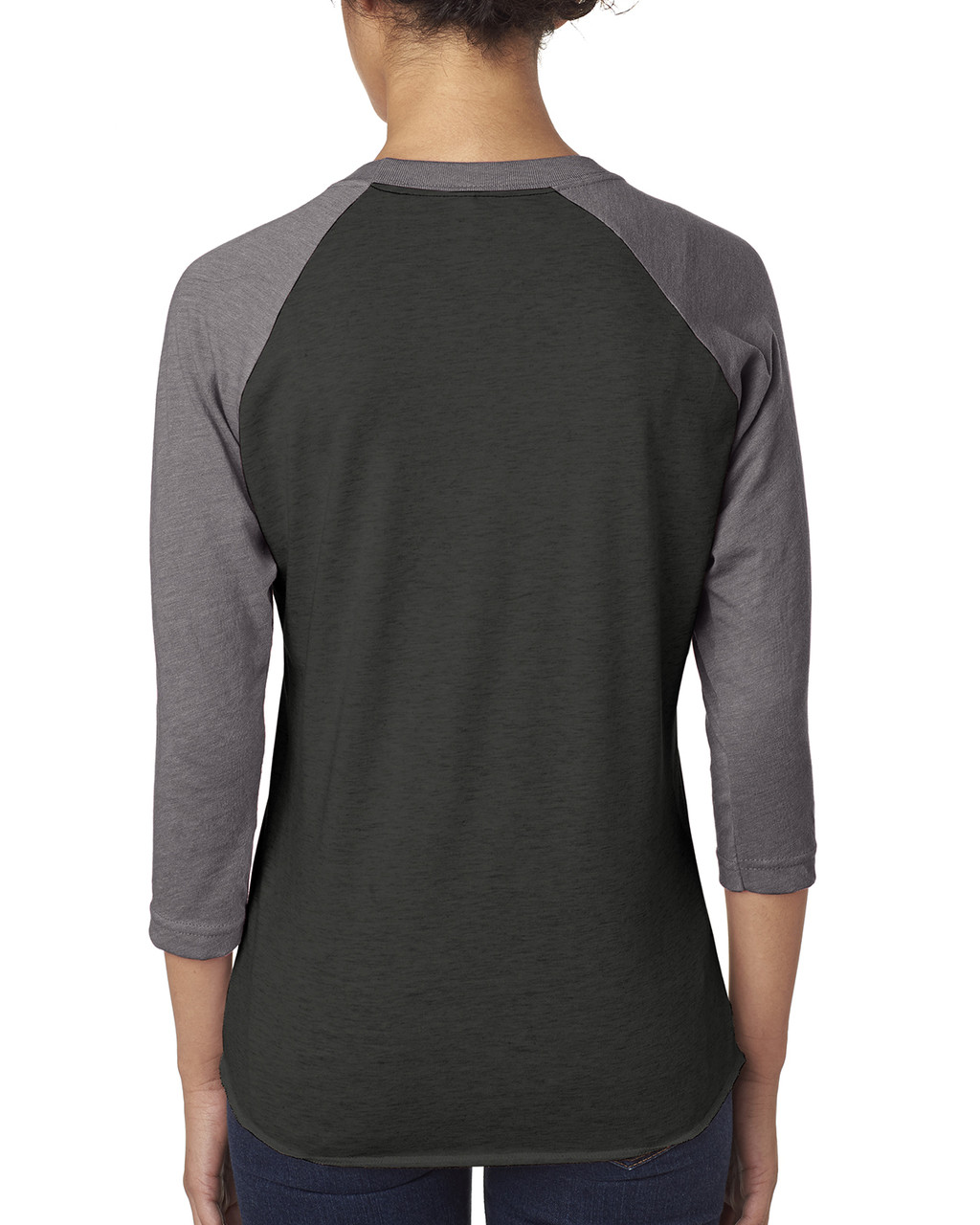 Heather/Vintage Black - back 6051 Next Level Unisex Tri-Blend 3/4-Sleeve Raglan Tee | Blankclothing.ca