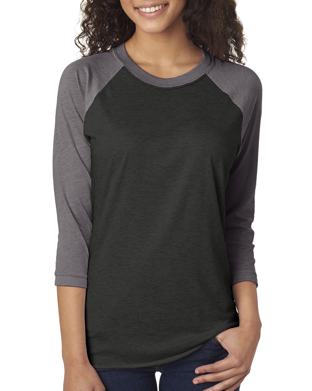 Heather/Vintage Black - 6051 Next Level Unisex Tri-Blend 3/4-Sleeve Raglan Tee | Blankclothing.ca