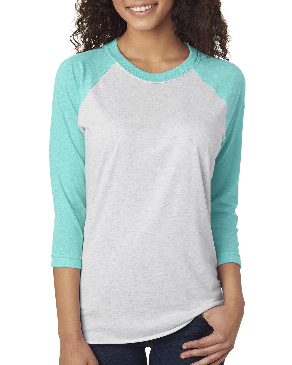Tahiti Blue/Heather White - 6051 Next Level Unisex Tri-Blend 3/4-Sleeve Raglan Tee | Blankclothing.ca