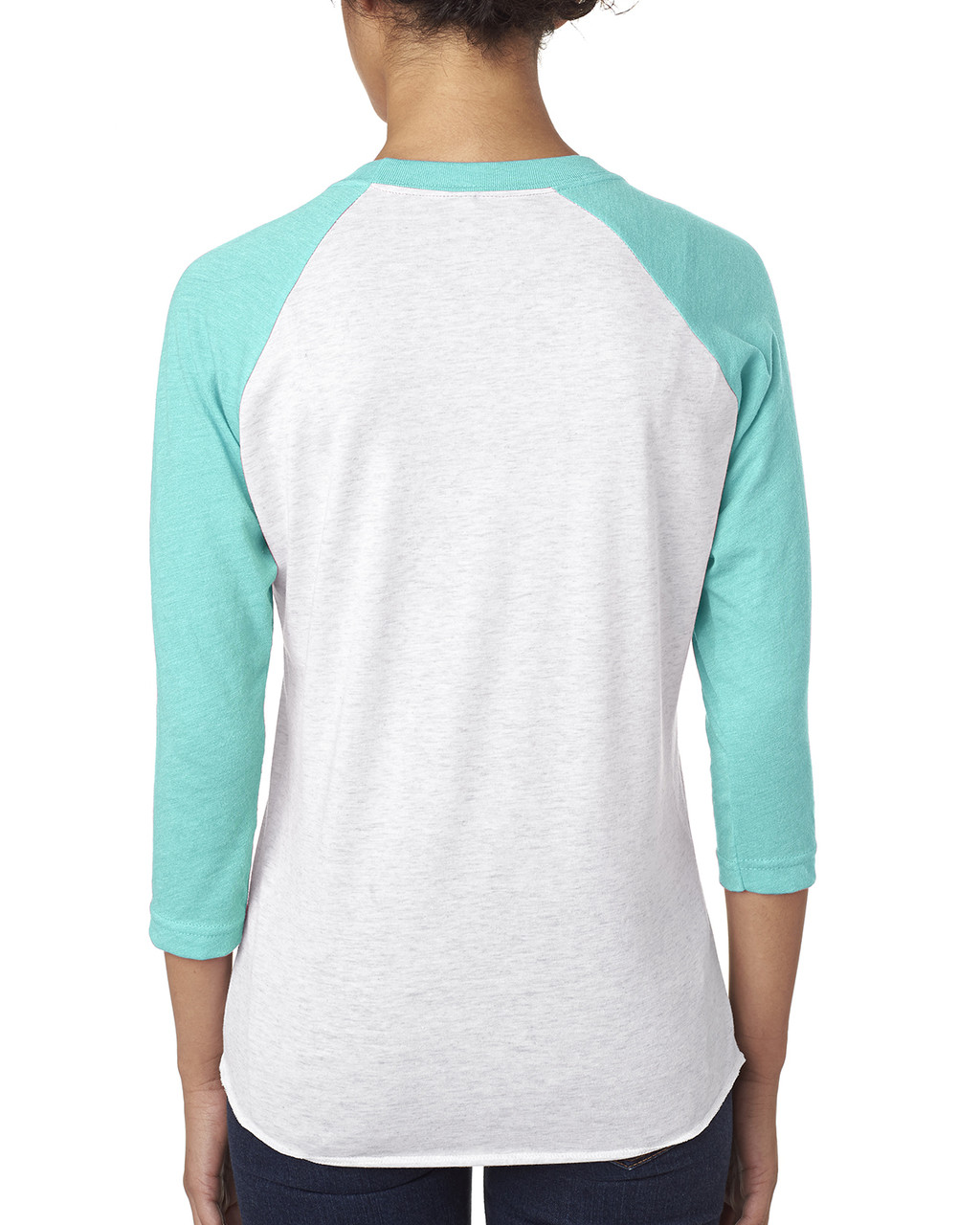 Tahiti Blue/Heather White - back 6051 Next Level Unisex Tri-Blend 3/4-Sleeve Raglan Tee | Blankclothing.ca