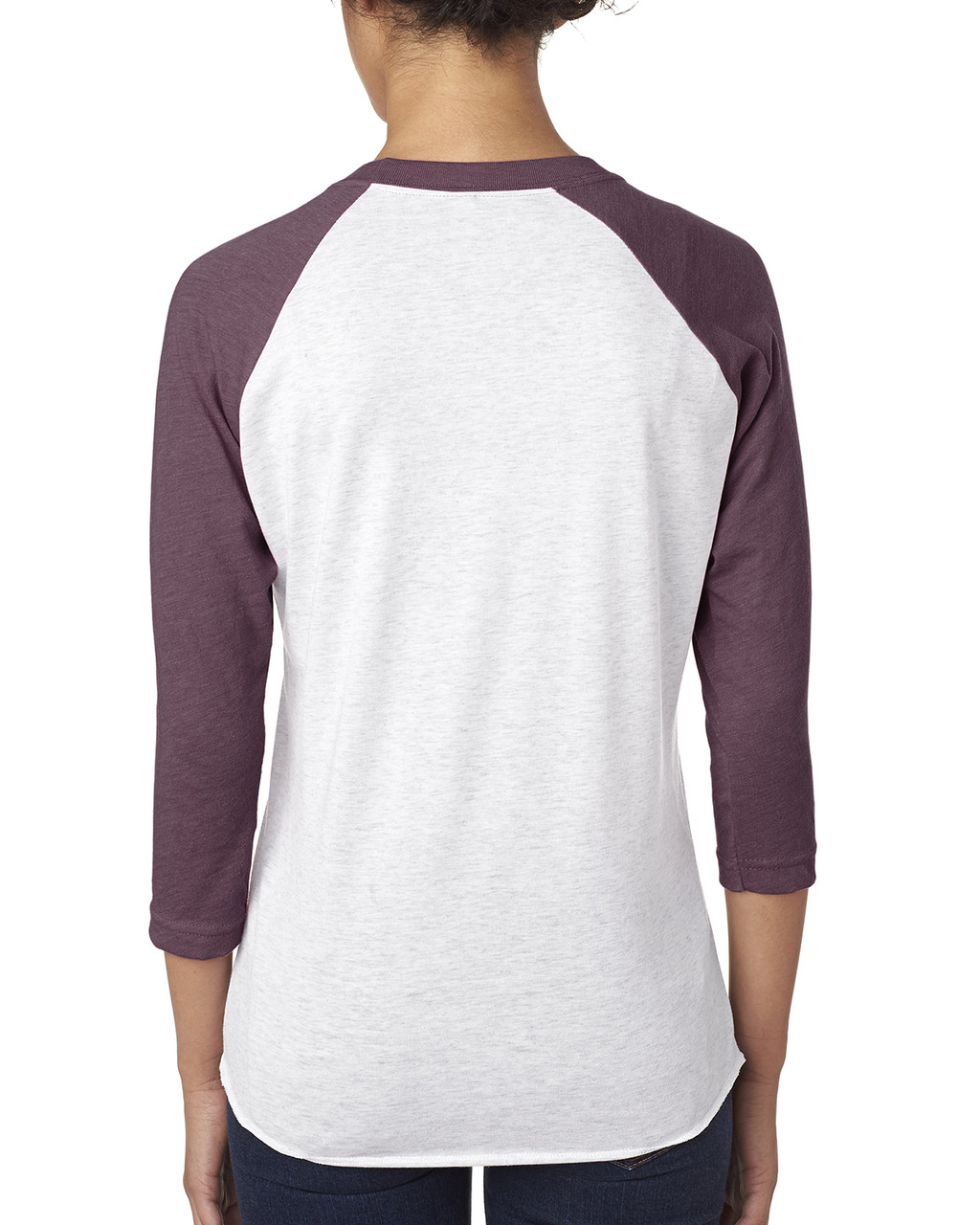 Vintage Purple/Heather White - back 6051 Next Level Unisex Tri-Blend 3/4-Sleeve Raglan Tee | Blankclothing.ca