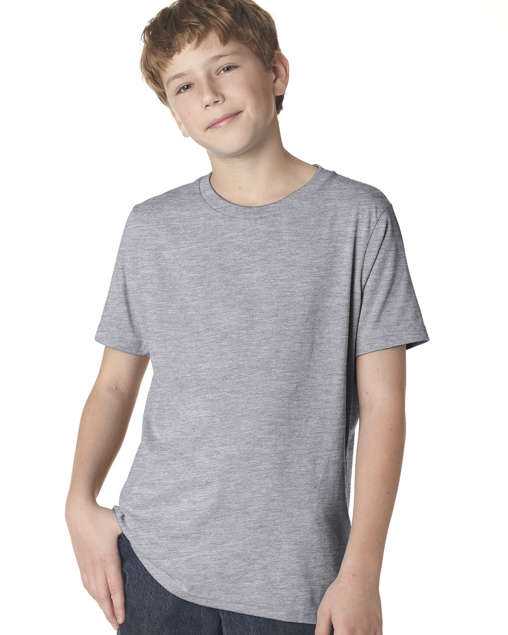 Heather Grey 3310 Next Level Boys' Premium Crew Tee | Blankclothing.ca