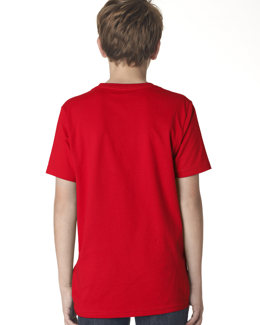 Red, back 3310 Next Level Boys' Premium Crew Tee | Blankclothing.ca