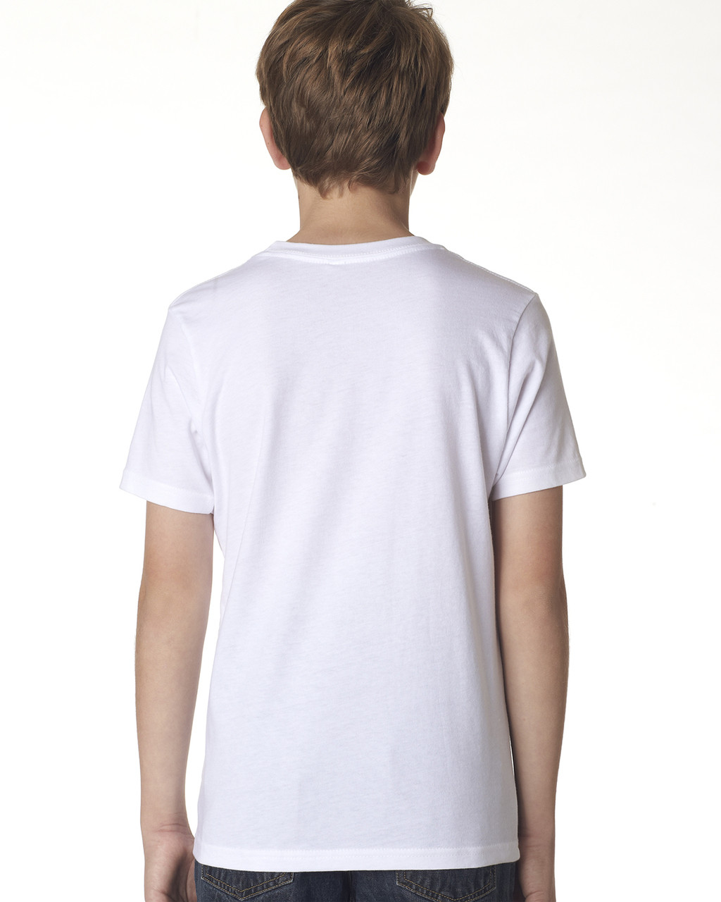 White, back 3310 Next Level Boys' Premium Crew Tee | Blankclothing.ca