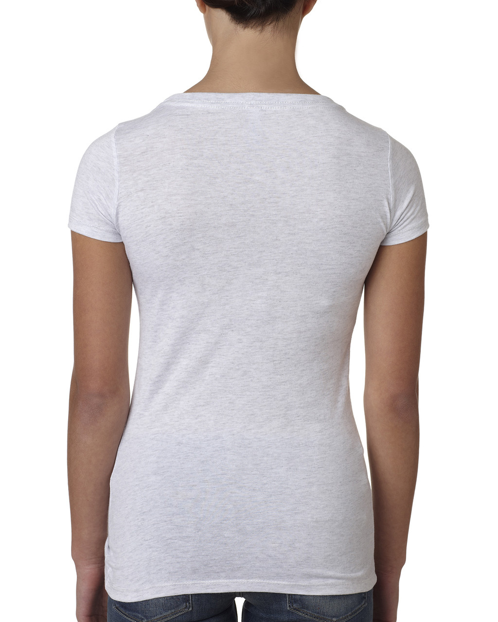 Heather White, back 6730 Next Level Ladies' Tri-Blend Scoop Tee | Blankclothing.ca