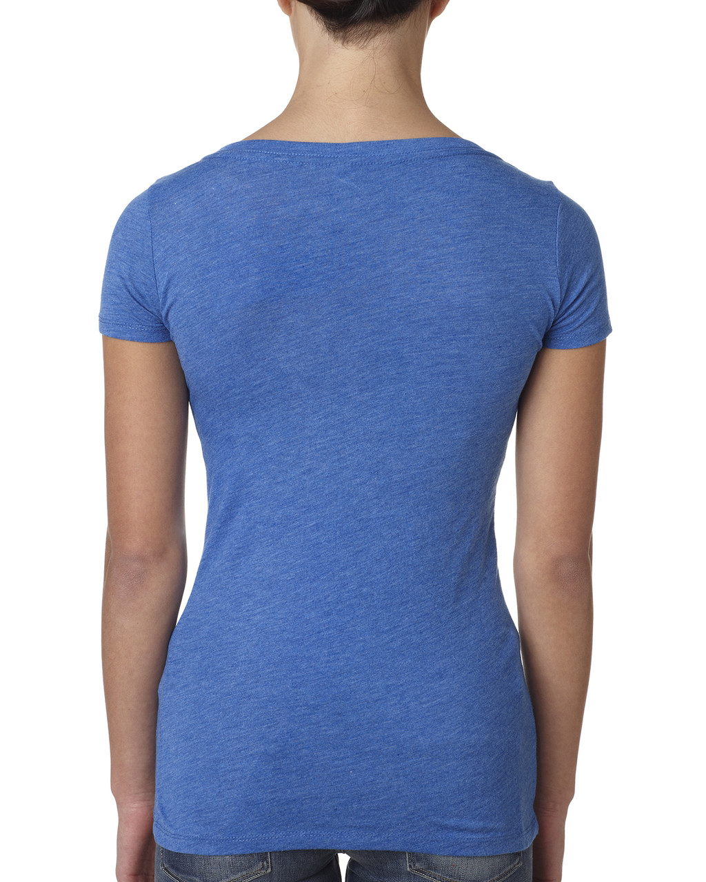 Vintage Royal, back 6730 Next Level Ladies' Tri-Blend Scoop Tee | Blankclothing.ca