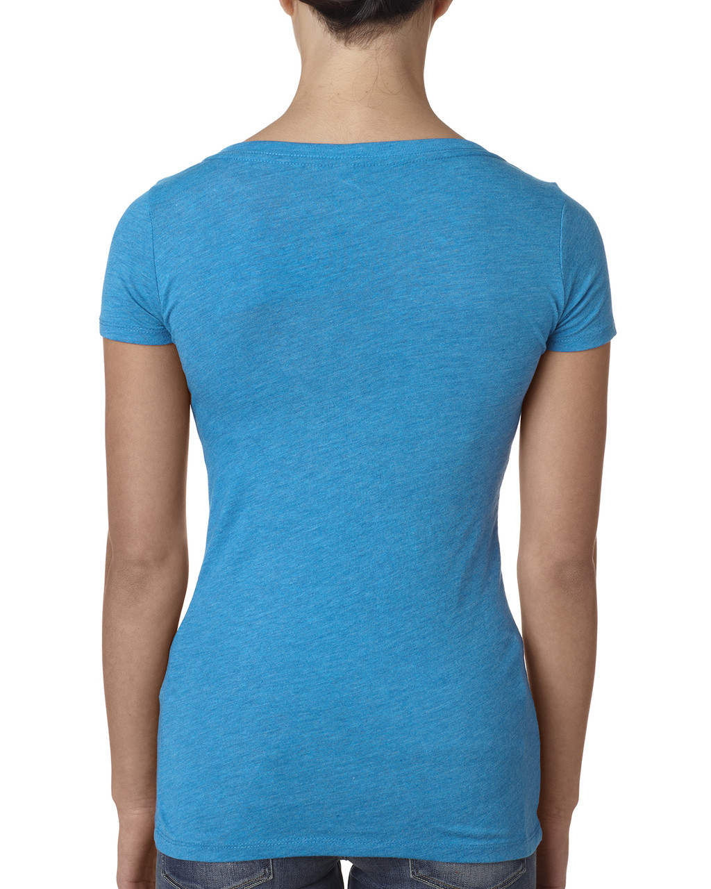 Vintage Turq - back 6730 Next Level Ladies' Tri-Blend Scoop Tee | Blankclothing.ca