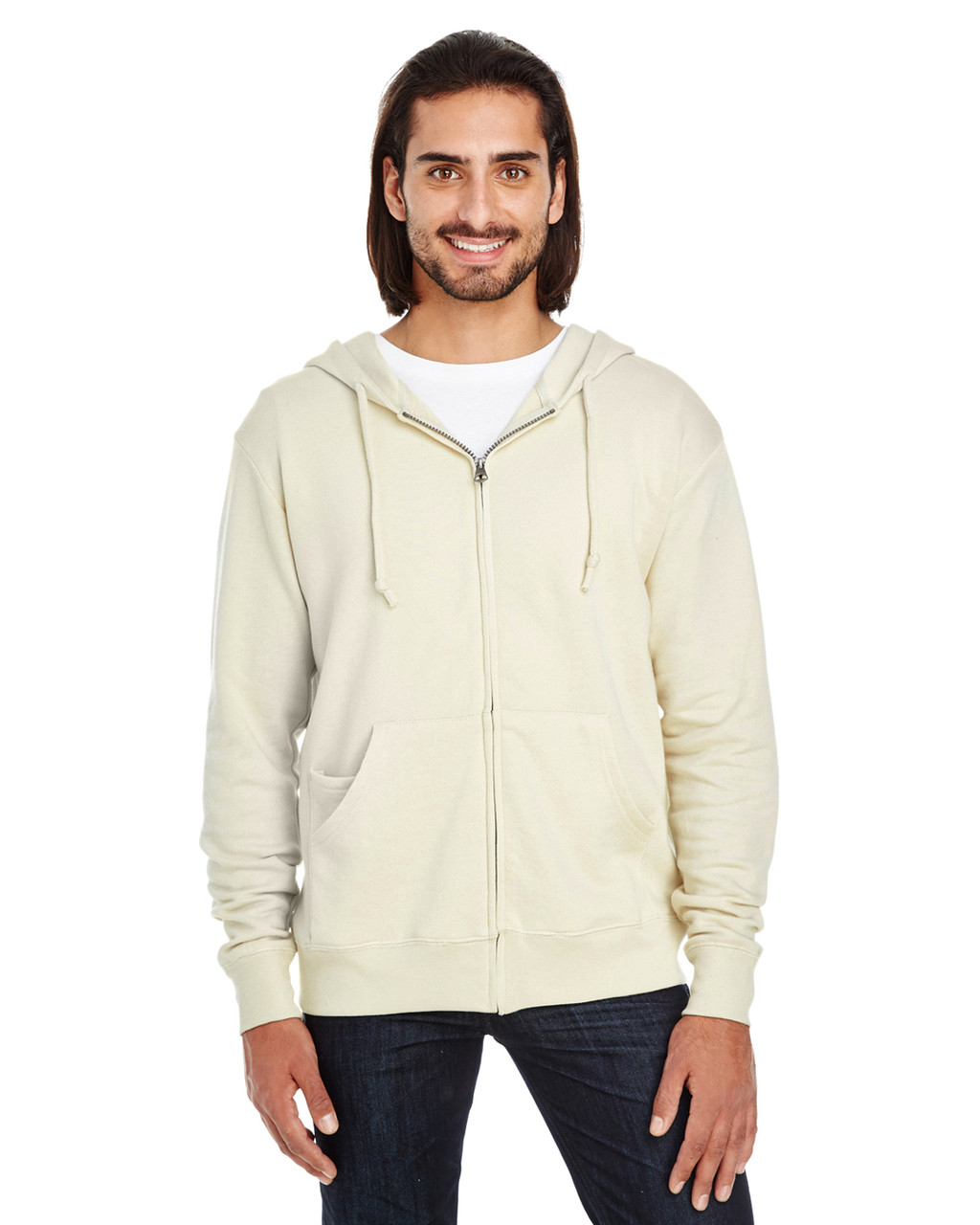 Cream  - 321Z Threadfast Unisex Triblend French Terry Full-Zip Sweater | Blankclothing.ca