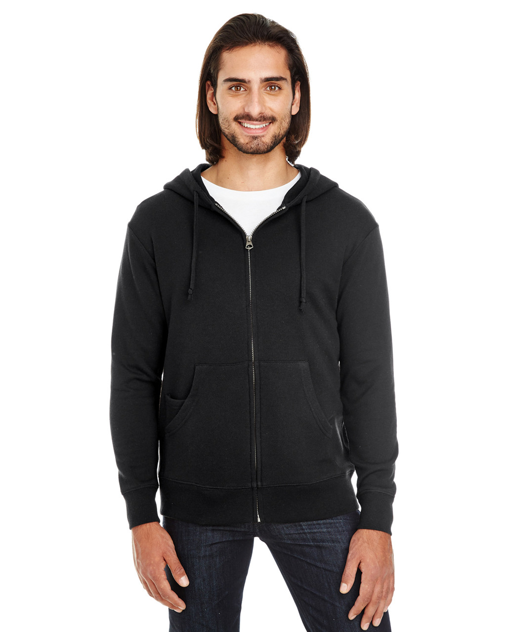 Black Solid - 321Z Threadfast Unisex Triblend French Terry Full-Zip Sweater | Blankclothing.ca