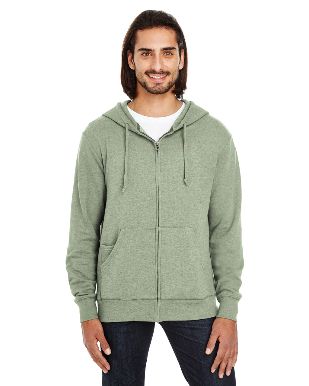 Army Heather - 321Z Threadfast Unisex Triblend French Terry Full-Zip Sweater   Blankclothing.ca
