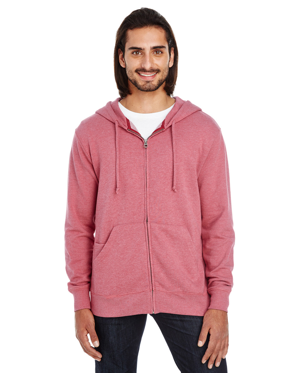 Cardinal Heather - 321Z Threadfast Unisex Triblend French Terry Full-Zip Sweater   Blankclothing.ca