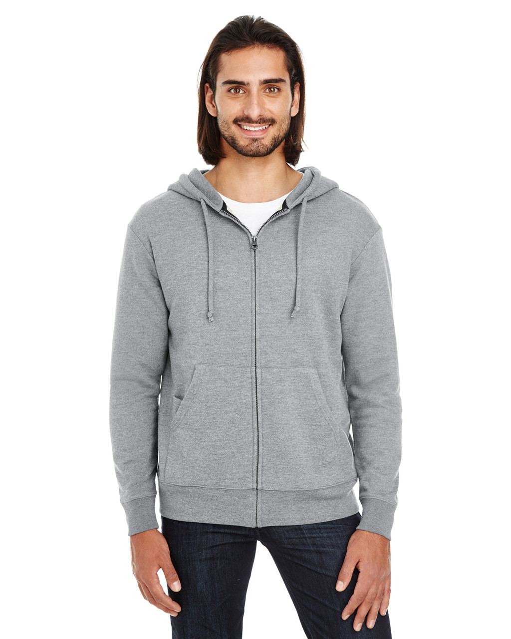 Charcoal Heather - 321Z Threadfast Unisex Triblend French Terry Full-Zip Sweater | Blankclothing.ca