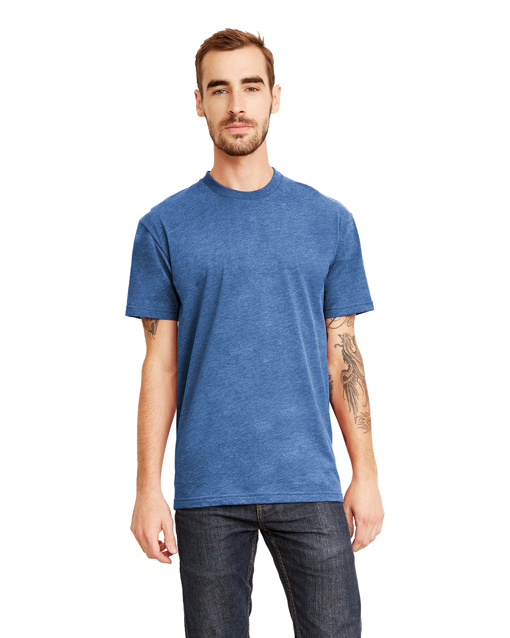 Heather Cool Blue - 6410 Next Level Men's Premium Fitted Sueded T-Shirt | Blankclothing.ca