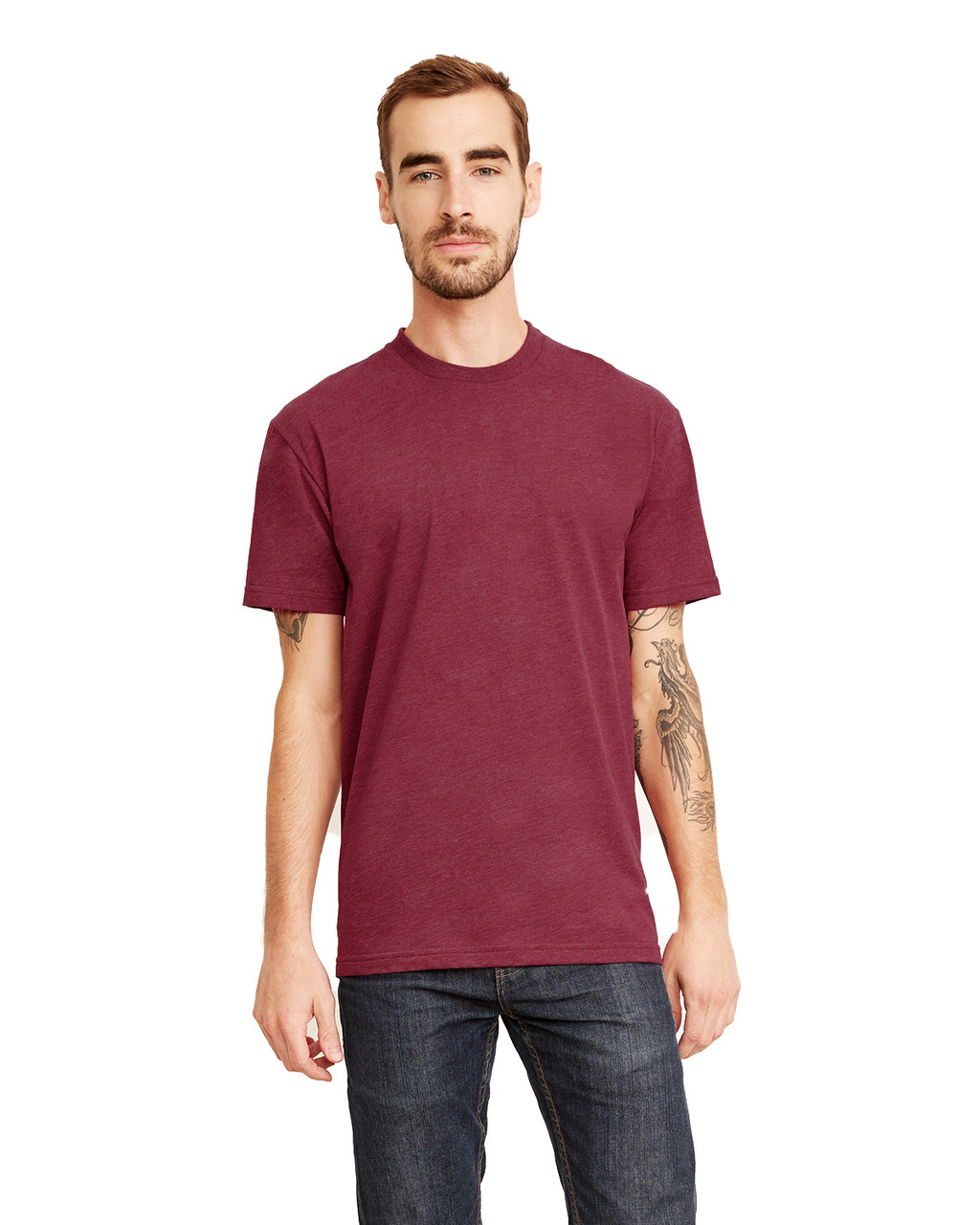 Heather Maroon - 6410 Next Level Men's Premium Fitted Sueded T-Shirt | Blankclothing.ca