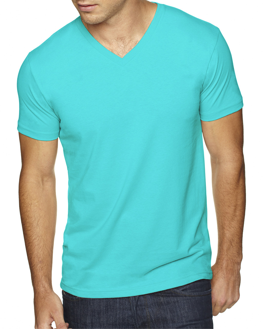Tahiti Blue - 6440 Next Level Men's Premium Fitted Sueded V-Neck Tee | Blankclothing.ca